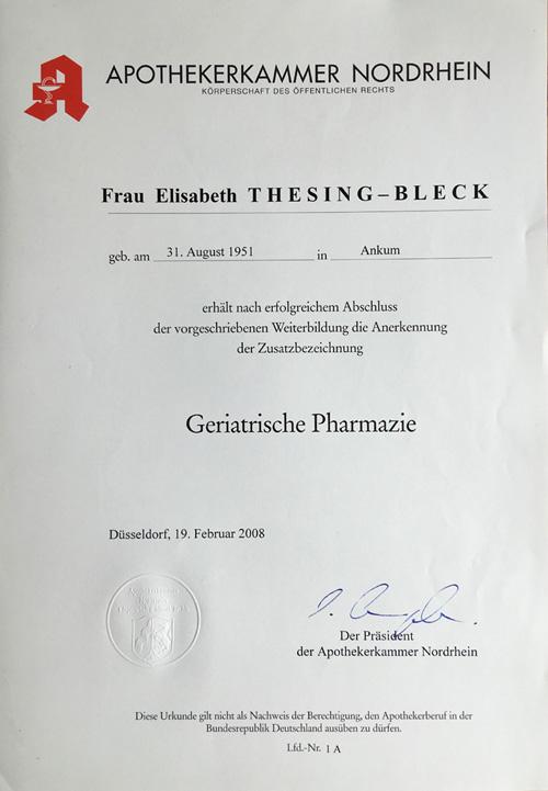 Urkunde Geriatrische Pharmazie